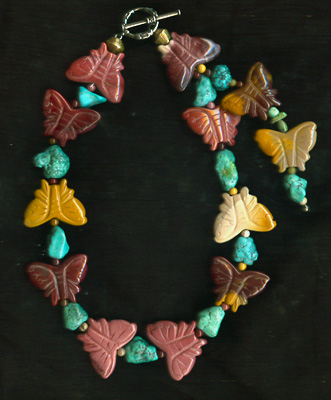 Butterflies and Turquoise Necklace