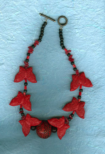 Cinnebar Butterflies Necklace